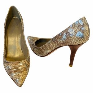 Stuart Weitzman Gold Snakeskin Heels Size 6
